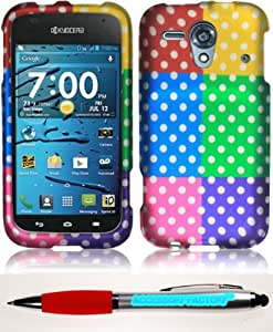 Accessory Factory(TM) Bundle (the item, 2in1 Stylus Point Pen) For Kyocera Hydro Edge C5215 Rubberized Design Cover Case - Colorful Polka