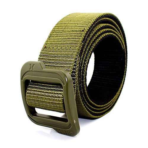Skull Buckle Metal (Braudel Heavy Duty Belt Reversible Military Style Nylon Web Belt for Men with No Metal Buckle Perfect Fit (Army)