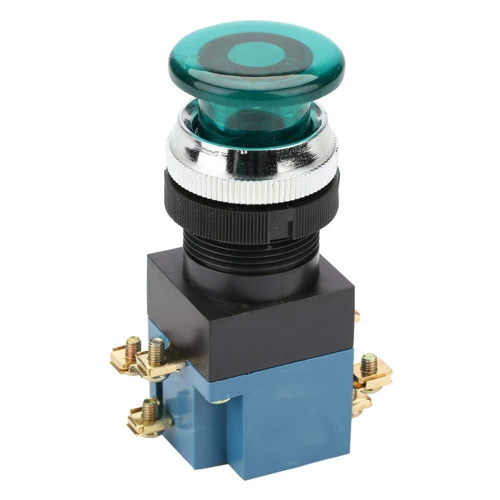 Interruttore a pulsante verde 10 pezzi Ripristino automatico Interruttore a pulsante a fungo con luce 1NO 1NC 25mm Supporto LA19-11DJ interruttore pro-controller Interruttore a pulsante a fungo