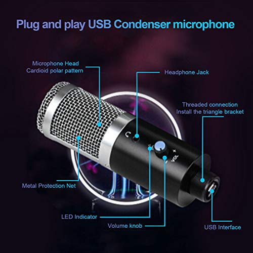 TKOOFN USB Microphone, Cardioid Condenser Microphone with Built-in Headphone Jack,Volume Control,Adjustable Multifunction,Plug and Play Recording Microphone for Podcasting, Gaming, YouTube