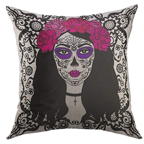 (Mugod Pillow Cases Black Tattoo Girl Sugar Skull Makeup Calavera Catrina Mexican Halloween Person Dia De Los Muertos Throw Pillow Cover for Men Women Girl Cushion Cover 20x20)