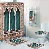 Bathroom 5 Piece Set shower curtain 3d print Multi Style,Venice,Traditional Ancient Gothic Style Windows with Flower Pots on Brick Wall,Light Brown White Blue,Bath Mat,Bathroom Carpet Rug,Non-Slip,Bat