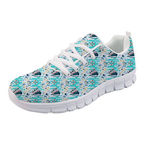 Sneakers Casual Cruising Running Mesh US5 Walking Vacation Flat Lightweigh Coloranimal 12 Shoes Mermaid afw0qg