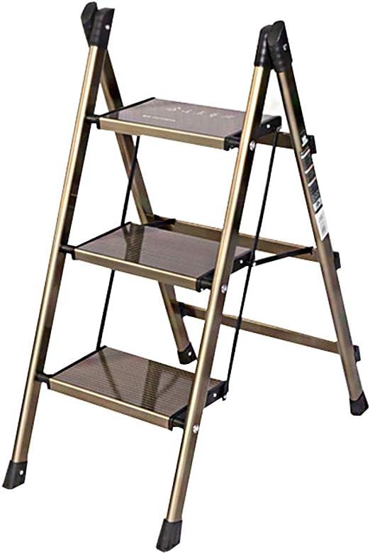 Taburete Plegable Escalera Doméstica Escalera De Aluminio Ultrafina Taburete Estante Dorado WEIYV (Color : Oro, Tamaño : 47.5 * 67 * 88cm): Amazon.es: Hogar