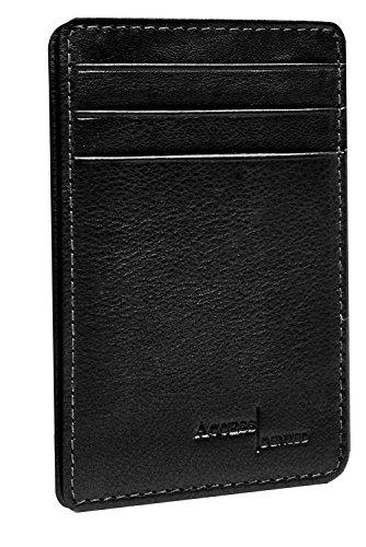 Genuine Leather Wallet Cardholder Mens Slim Minimalist 3 Card Slots RFID Blocking (Wallet Black Leather)