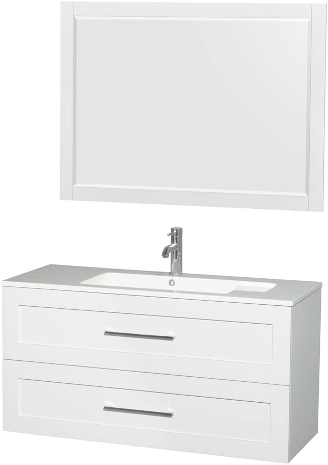 Wyndham Collection Olivia 48 inch Single Bathroom Vanity in Glossy White, Acrylic Resin Countertop, Integrated Sink, and 46 inch Mirror