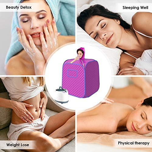 SEAAN Portable Personal Steam Sauna Spa Tent Full Body Home Sauna Therapeutic for Weight Loss, Detox, Slimming, W/ 2L Steam Pot Remote Control,1000W,10-60 Minute, 9 Temperature Levels 5
