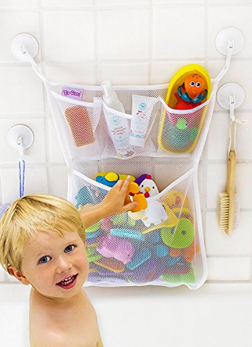 "Bath Toy Organizer -The Original Tub Cubby - Large 14x20"" Quick Dry Bathtub Mesh Net - Massive Baby Toy Storage Bin + 3 Soap Pockets 4x Suction Hooks & 3M Stickers"