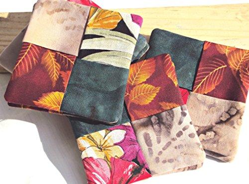 Foliage Batik - Set of 8 Handmade Holiday Fabric Coasters or Mug Rugs - Fall Foliage