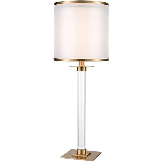 Amazon.com: Lámpara de mesa con acabado en bronce y cristal ...