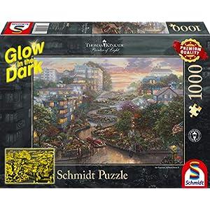 Schmidt Spiele 59497 Puzzle Da 1000 Pezzi Thomas Kinkade San Francisco Lombard Street Glow In The Dark