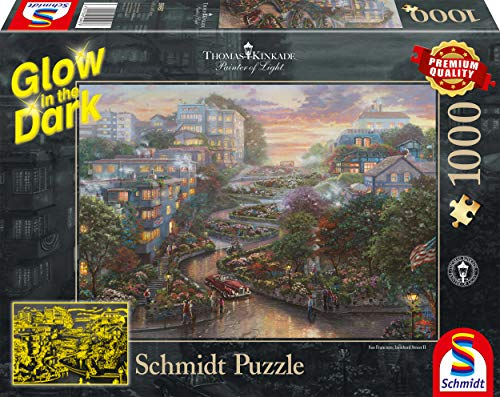 Schmidt Spiele Jigsaw Puzzle 59497Lombard Street San Francisco by Thomas Kinkade-Glow in The Dark Jigsaw Puzzle 1,000Pieces Colourful