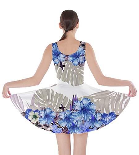 Womens Party Floral CowCow XS Tropical Hawaii Hawaii Dress Flowers Blue 5XL Leaves Skater Hibiscus 3 Summer dqqCS8