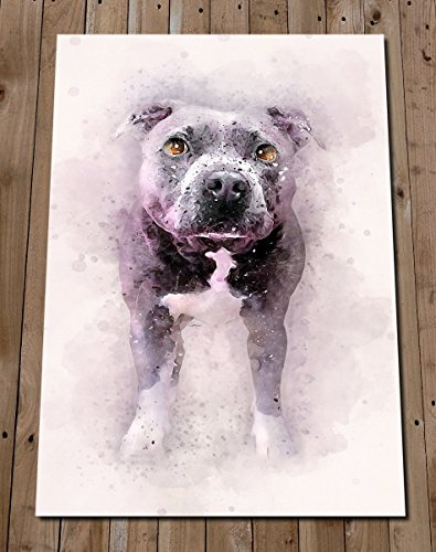 Blue STAFFORDSHIRE BULL TERRIER Art Print - Wall Decor Watercolor Painting - Pit Bull Poster