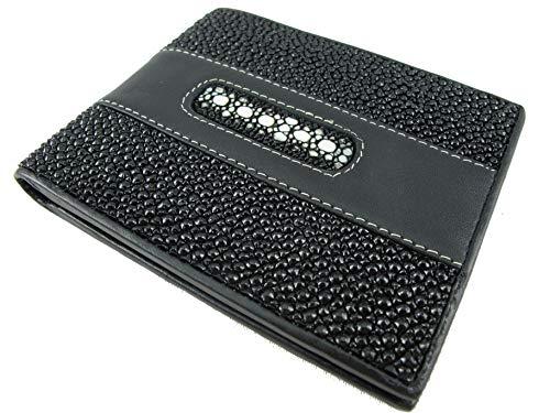 PELGIO Genuine Row Diamond Stingray Skin Leather Bifold Wallet Black