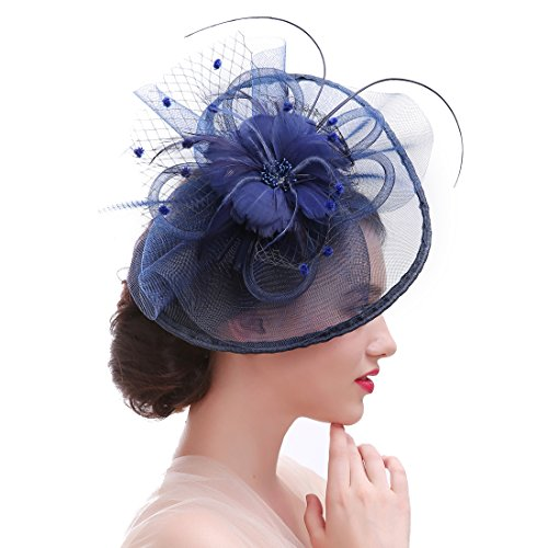 HNBQMX Sinamay Fascinator Hat Cocktail Headwear for Brridal Headpiece with Veil (Navy) by HNBQMX (Image #1)
