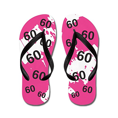 CafePress Pink 60 Years Old - 60Th Birthday - Flip Flops, Funny Thong Sandals, Beach Sandals Black