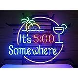 New It's 5 O'clock Somewhere Neon Light Sign 20''x16'' V50