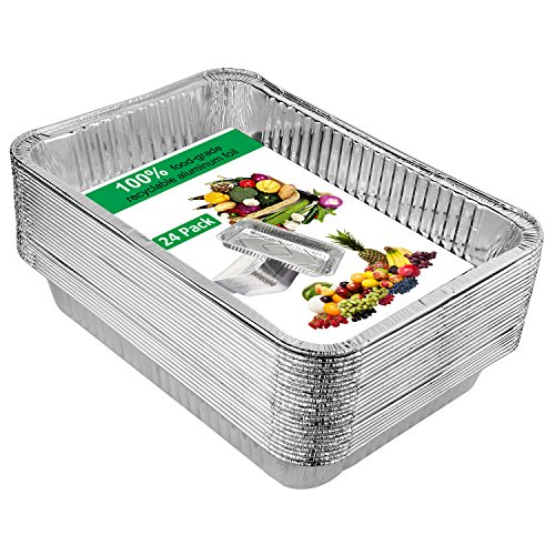 Disposable Aluminum Foil Pans,Fohuas 9'' x 13'' Half Size Deep Steam Table Pans Freezer & Oven Safe Food Containers for Baking, Cooking, Roasting & Reheating (24 Pack) by fohuas (Image #1)