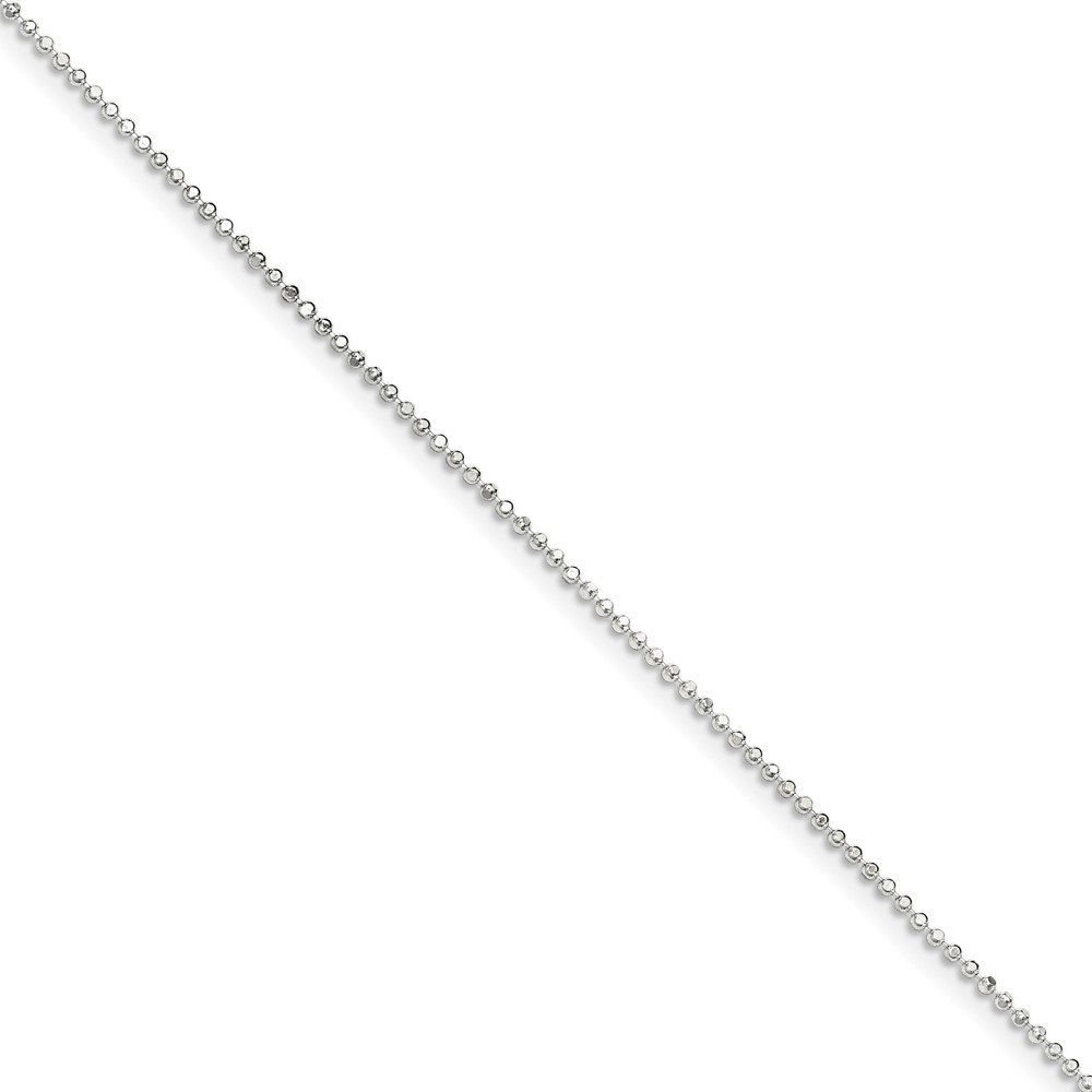 Sterling Silver Polished 1.05mm Square Beaded Chain Necklacet With Spring Ring Clasp Length 24 Inch