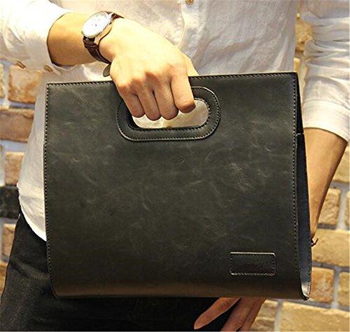 New Fashion Mens Bag (Marcel Yiaminso New Vintage Men Leather Designer Tote Handbag Men'S Large Capacity Fashion Brown Envelope Clutch Bag Black)