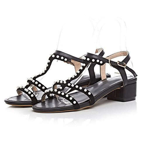 AmoonyFashion Womens Buckle Open Toe Kitten Heels Solid Sandals Black FMTCpfmeq