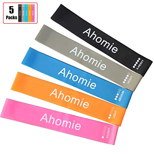 Ahomie Resistance Loop Bands, Exercise Bands for Legs and Butt, Pilates Flexbands for Full Body Workout, Stretching, Yoga, Strength Training, with Carry Bag