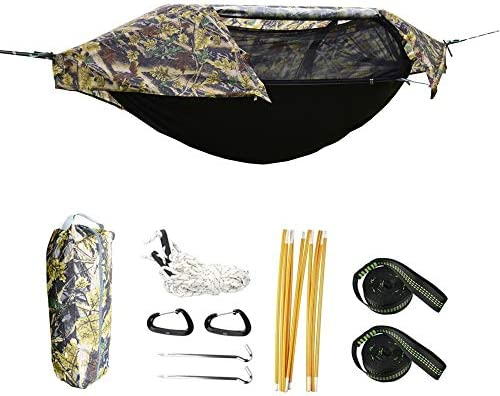 Camping Hammock with Mosquito Net and Rainfly Cover, Lightweight Portable Hammock for Outdoor Backpacking Hiking Travel Camouflage