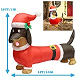 5ft Long Wiener Dog Self-Inflatable with Suit Perfect for Dachshund Blow Up Yard Decoration, Indoor Outdoor Yard Garden Christmas Decoration and Christmas Party Favor Decoration by Joiedomi