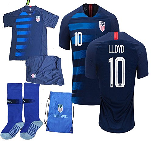 cf8f6e2ffe7 USA Soccer Team Christian Pulisic Carli Lloyd Alex Morgan Replica Kid Jersey  Kit : Shirt,