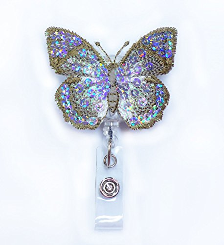 LOVEKITTY - Embroidered Butterfly Bling Bling Retractable ID Badge Reel / Name Badges / ID Badge Holder / Doctor Nursing Badge / Teacher Nurse Great Gift Idea