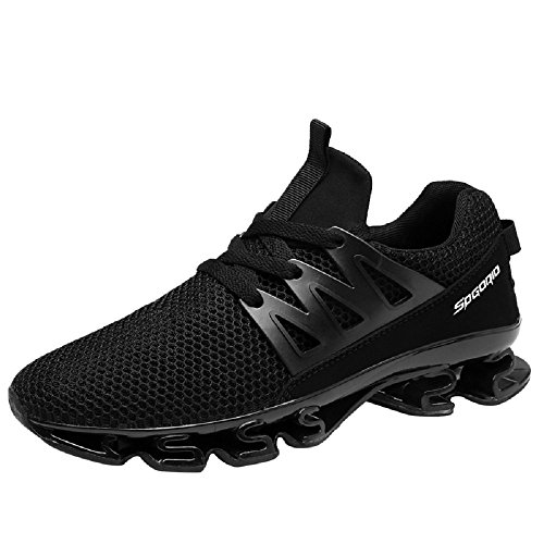 NEOKER Running Trainers Mens Black Lightweight Breathable Sports Gym Casual Shoes Black-4 wgni9