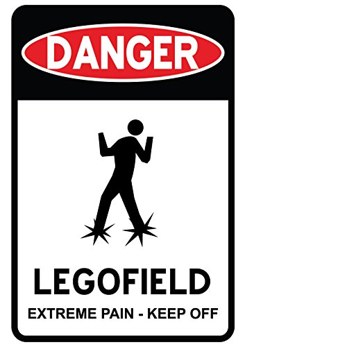 (Danger Legofield Door Warning Sign - Vinyl Decal Wall Decor for Brick Builders Rooms AFOL (Medium - 12x18))