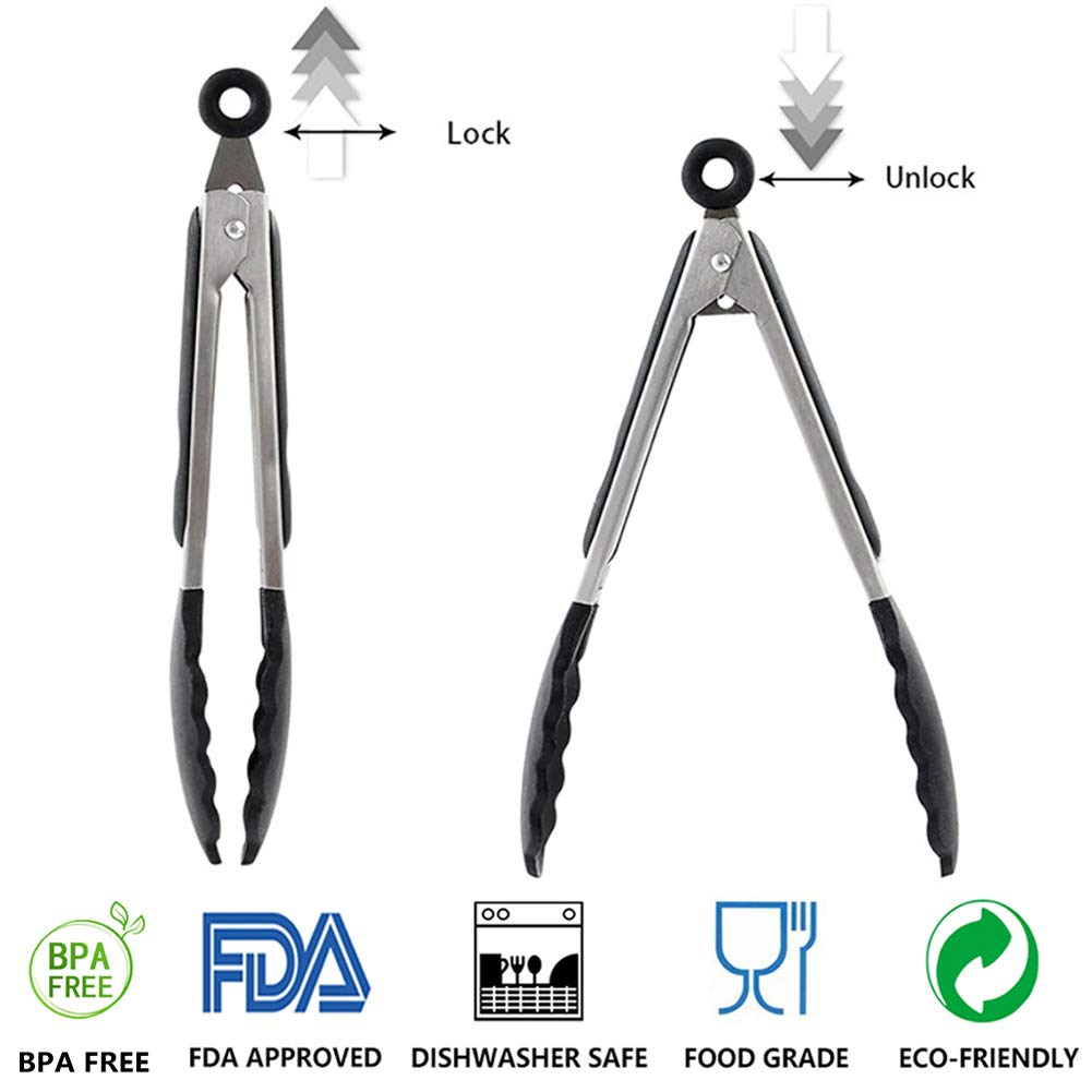 Black Kanntie 9-Inch Premium Silicone Kitchen Tongs Stainless Steel Cooking Tongs Non-Stick Friendly