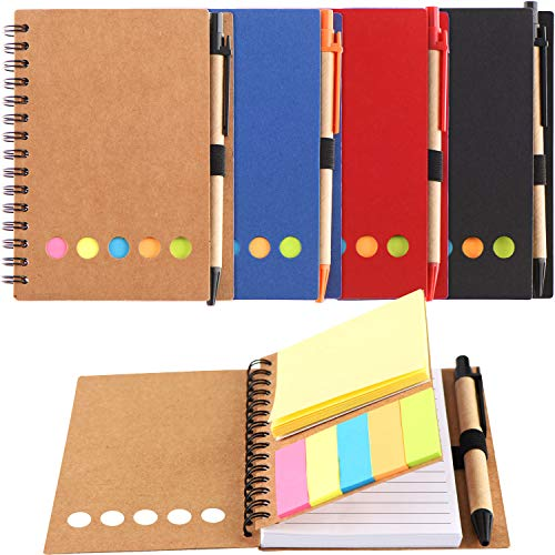 (Blulu 4 Pieces Spiral Notebook 280 Sheets Lined Notepad with Sticky Notepads, Page Marker Colored Index Tabs Flags and Pen in Holder (Set)