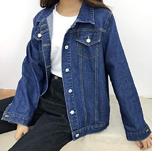 Jacket Dark Womens Mogogo Buttoned Coat Short Denim Lapel Comfort Loose Blue Jean YxwwHv