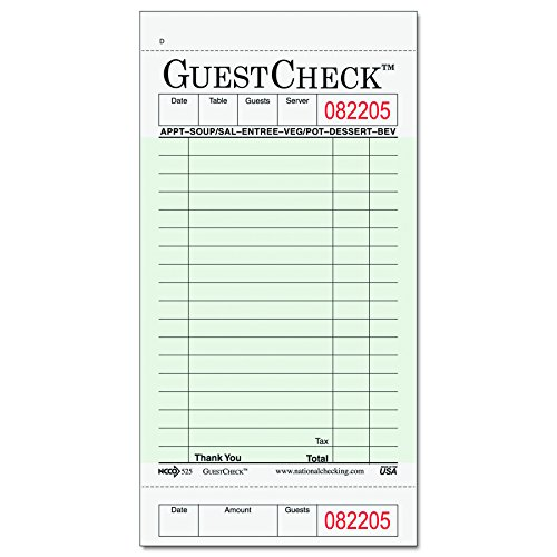 National Checking Company 525 Guest Check Pad, Receipt Stubs, 3 1/2 x 6 3/4, One-Part Carbonless, 50 Forms (Case of 2500 Sheets)