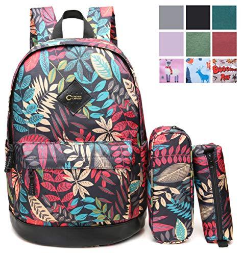 479da39209 CrossLandy High School Bookbag Floral Print School Backpack Fits 15  Laptop
