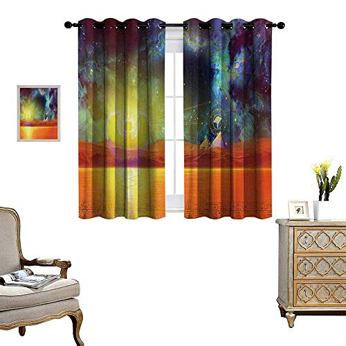 Egypt Patterned Drape for Glass Door Ethnic Old Dated Occult Sign on The Ancient Pyramids with Nebula Cloud Art Image Waterproof Window Curtain W55 x L39 Blue Orange]()