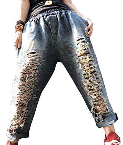 YESNO PW5 Women Casual Cropped Denim Pants Boyfriend Loose Jeans Ripped Fringed Destroyed Embroidered/Pockets ()