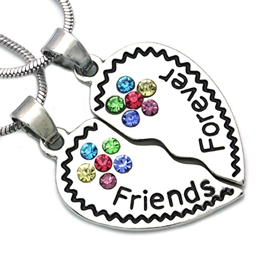 Soulbreezecollection Best Friends Forever BFF Heart Necklace Pendant Charm Engraved Letters (Multi-Color)
