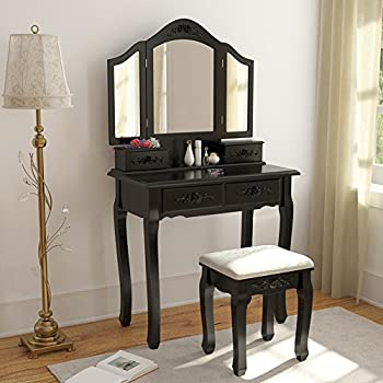 Tribesigns Vintage Vanity Makeup Table Set, 3 Mirror And Stool Set Antique Dressing  Table With