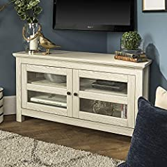 With a corner design this 44-inch console is easy to incorporate into smaller spaces in your home. Not only is it space saving, but this media console provides storage space from anything to your DVDs and electronics to your décor or room ess...