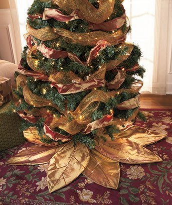 Gold Poinsettia Tree Skirt
