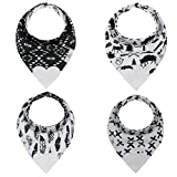 Reversible Monochrome Baby Bandana Teething Bibs With Attached Heart Teether Toy