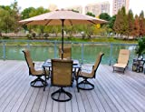 5pc Outdoor Sling Swivel Rocking Patio Dining Set with Umbrella - Seats 4