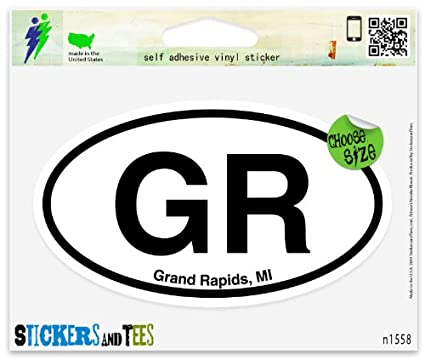 Gr grand rapids mi oval vinyl car bumper window sticker 5