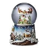 Santa Flying Over Village Snow Globe