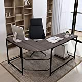 Teraves Reversible L-Shaped Desk Corner Gaming Computer Desk Office Workstation Modern Home Study Writing Wooden Table