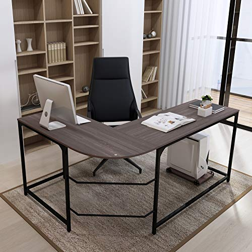 Teraves Reversible L-Shaped Desk Corner Gaming Computer Desk Office Workstation Modern Home Study Writing Wooden Table ()